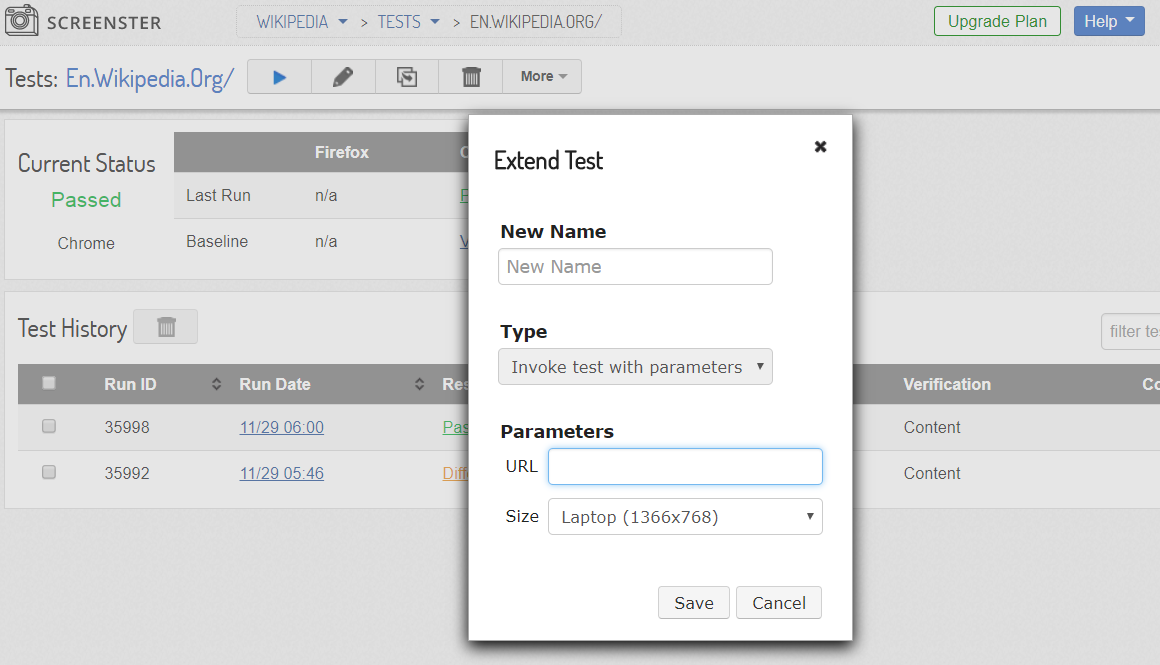 Visual UI testing: extend test pop-up
