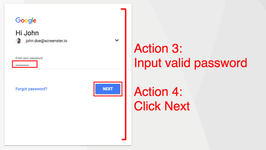 end to end testing for signing in to Google (screenshot of page 2)