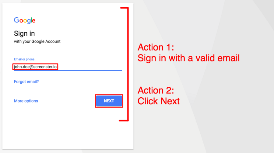 end to end testing for signing in to Google (screenshot of page 1)