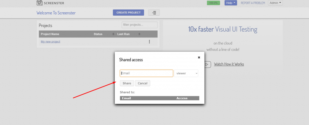 Visual UI testing: shared access to project