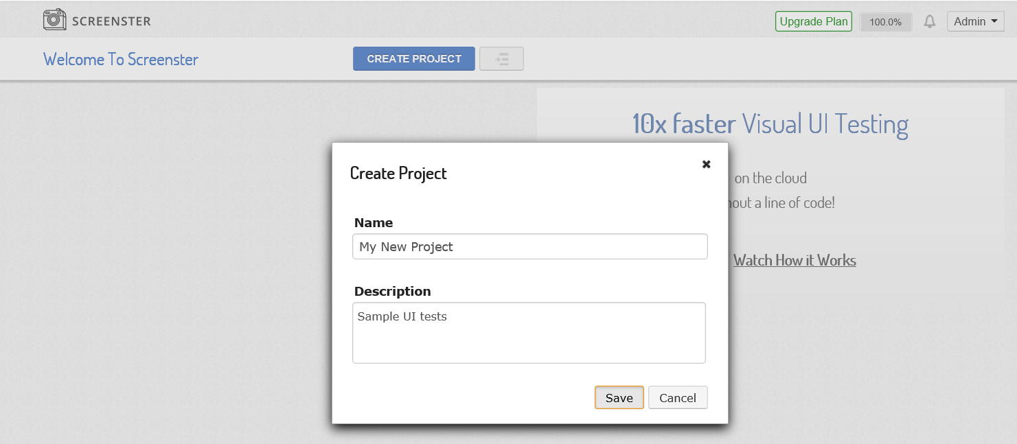 Visual UI testing: create project pop-up