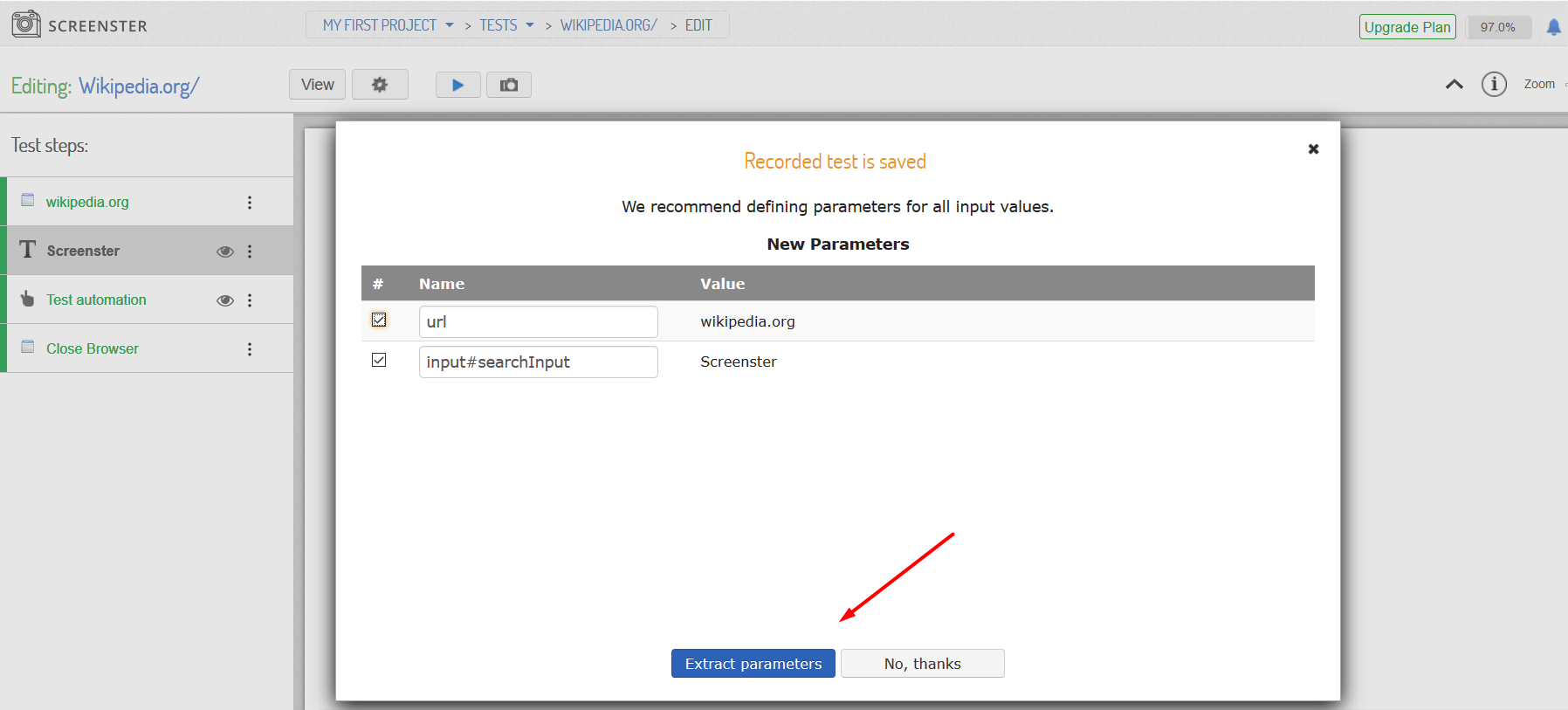 Visual UI testing: extract test parameters pop-up